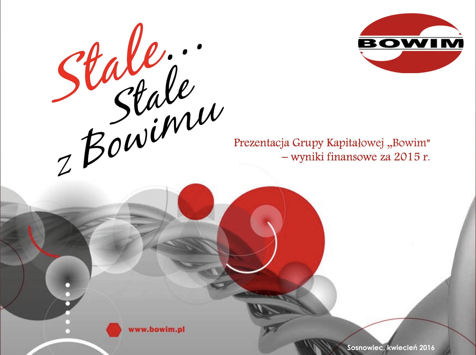 prezentacja grupy kapitalowej BOWIM wyniki finansowe za 2015